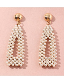 Fashion White Drop-shaped Earrings With Pearls