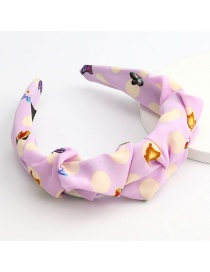 Fashion Purple Big Polka Dot Butterfly Print Pleated Fabric Hair Band
