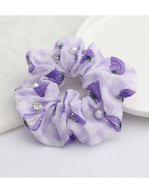 Fashion Purple Fruit Strawberry Print Cotton And Linen Fabric Diamond-studded Pearl Large Intestine Ring Hair Rope