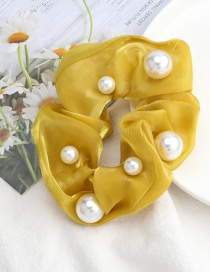 Fashion Yellow Pure Color Gold Silk Fabric Pearl High Elastic Hair Rope