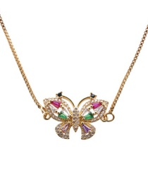 Fashion Butterfly Hollow Gold Micro Zircon Butterfly Pendant Necklace