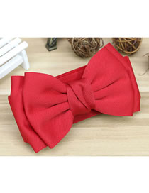 Fashion Red Wide Elastic Belt With Bow