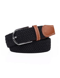 Fashion Black Pin Buckle Stretch Canvas Belt Woven Belt