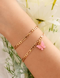Fashion Pink Gold-plated Acrylic Butterfly Multi-layer Bracelet