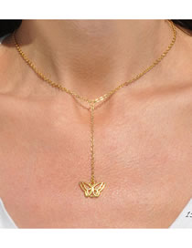 Fashion Golden Butterfly Alloy Hollow Multilayer Necklace