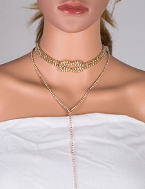 Fashion Golden Alloy Geometric Knotted Tassel Diamond Multilayer Necklace