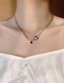 Fashion Silver Pig Nose Five-pointed Star Stitching Steel Titanium Necklace