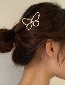 Fashion Golden Butterfly Pearl Alloy Hollow Hairpin