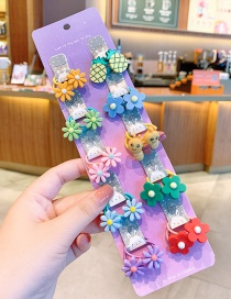 Fashion Little Flower Bee [20 Piece Set] Resin Flower Animal And Fruit Childrens Elastic Hair Rope Set