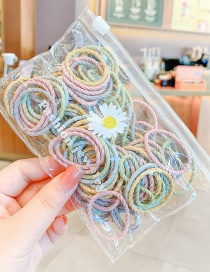 Fashion Thread Spring Color 100 Pieces Thread Contrast Checkered Lotus Root Childrens Elastic Hair Rope