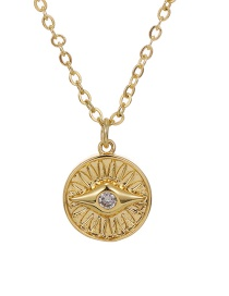 Fashion Golden Copper Inlaid Zircon Round Necklace