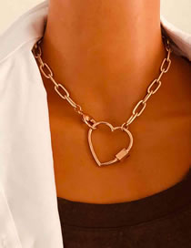 Fashion Golden Love Alloy Carabiner Necklace