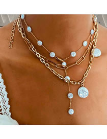 Fashion Golden Shaped Pearl Geometric Alloy Multilayer Necklace