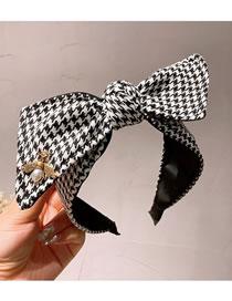 Fashion Black Woolen Houndstooth Large Bow Wide-brimmed Headband