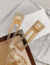 Fashion Square (single Branch) Alloy Chain Seamless Geometric Hollow Hairpin