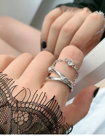 Fashion Silver Diamond Chain Geometric Alloy Multilayer Ring