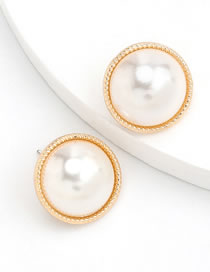 Fashion Round Round Alloy Inlaid Pearl Earrings