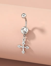 Fashion Silver Cross Diamond Pendant Stainless Steel Belly Button Nail