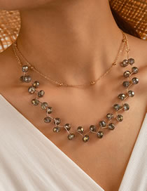 Fashion Golden Natural Crystal Bead Alloy Multilayer Necklace