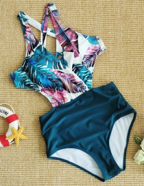 Fashion Palm Leaves On White + Blue Printed Strappy Cutout Plus Size One-piece Swimsuit