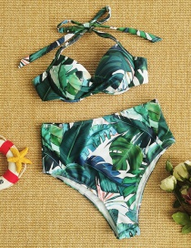 Fashion Green Leaves High-waist Printed Lace-up Swimsuit