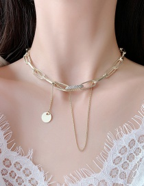 Fashion Golden Geometric Thick Chain Necklace With Diamonds