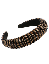 Fashion Black + champagne Sponge Pearl Resin Beads Headband