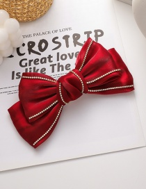 Fashion Red Double-layer Hairpin With Diamond Bowknot Fabric