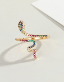 Fashion Gold Color Snake Ring Copper Inlaid Zircon Snake Shape Contrast Open Ring