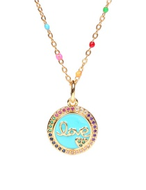 Fashion Blue Round Letter Stainless Steel Necklace With Diamonds