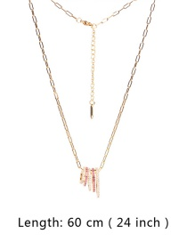 Fashion Pink Copper Inlaid Zircon Hollow Small Waist Pendant Thick Chain Necklace