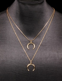 Fashion 2 Horns Copper Inlaid Zircon Horn Multilayer Necklace