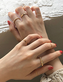 Fashion Gold Color Alloy Half With Gold Bead Ring For Set
