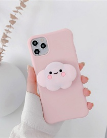 Fashion White Cloud Pink Folding Bracket All-inclusive Silicone Phone Case
