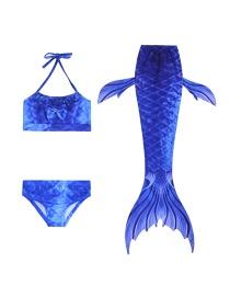 Fashion Dark Blue Halter Tether Printed Childrens Mermaid Split Swimsuit