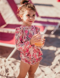 Fashion Red Flowers 2-piece Swimsuit Long-sleeved Flower Print Ruffled Quick-drying Swimsuit For Children