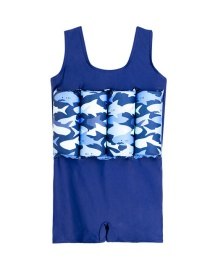 Fashion Mens Shark (one Piece Swimsuit) Childrens Floating Vest Swimsuit