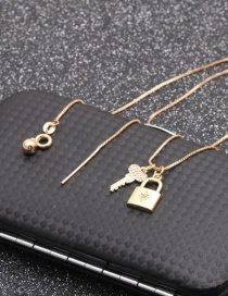 Fashion 1 Six-pointed Star + Lock Copper Inlaid Zircon Key Lock Pendant Necklace