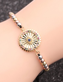 Fashion Mixed Color Bead Chain Eyes Copper Micro-inlaid Zircon Geometric Beaded Bracelet