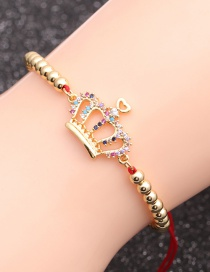 Fashion Red Rope Bead Chain Crown Color Micro-set Zircon Crown Eyes Adjustable Bracelet
