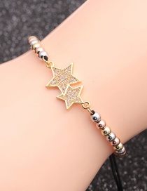 Fashion Mixed Color Bead Chain White Zirconium Five-star Micro-set Zircon Five-pointed Star Beaded Bracelet