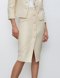 Fashion Beige Pearl Button Solid Color Skirt