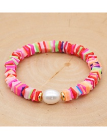 Fashion Color Mixing Natural Pearl Soft Ceramic Letter Geometric Bracelet