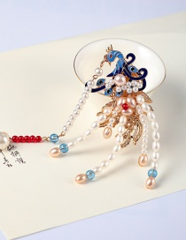 Fashion Left Dripping Phoenix Pearl Tassel Alloy Hairpin