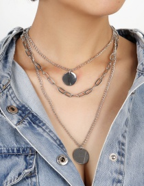 Fashion Silver Disc Thick Chain Alloy Multilayer Necklace