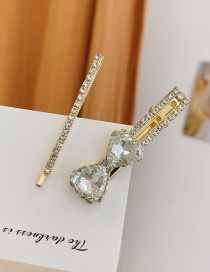 Fashion White Diamond-studded Butterfly Combined With Gold Multi-layer Hairpin