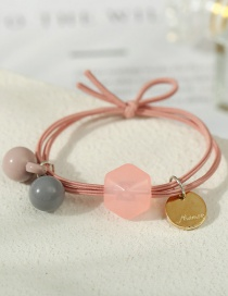 Fashion Pink Resin Geometric Disc Knotted Hair Rope
