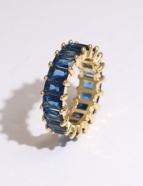 Fashion Blue Copper Inlaid Zircon Rectangular Ring
