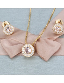 Fashion Gold-plated White Zirconium Copper Inlaid Zircon Round Necklace Earrings