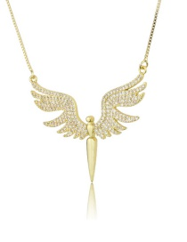 Fashion Gold-plated White Zirconium Copper Inlaid Zircon Angel Wings Pendant Necklace